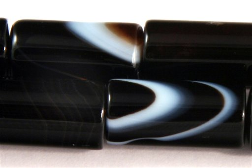 Black Banded Agate, 8x16mm, Tube Shape Beads