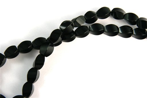 Black Onyx, 8x12mm, 4 Side Twisted Rice Shape Beads