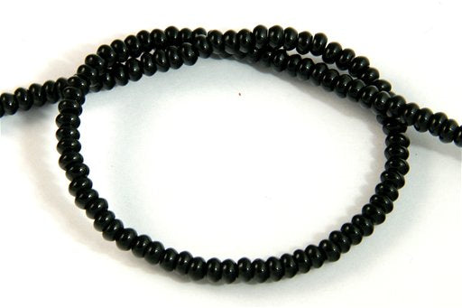 Black Onyx, 4mm, Rondelle Shape Beads
