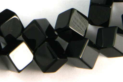 Black Onyx, 6mm, Cube Point to Point Shape Beads