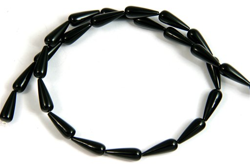 Black Onyx, 6x16mm, Tear Drop Shape Beads