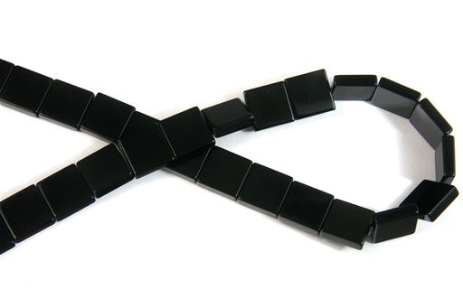 Black Onyx, 14mm, Flat Square Shape Beads