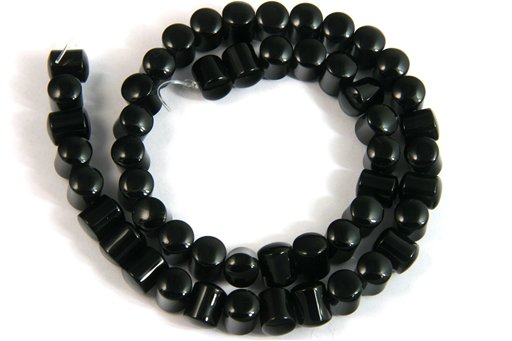 Black Onyx, 8x10mm, Horizontal Barrel Shape Beads