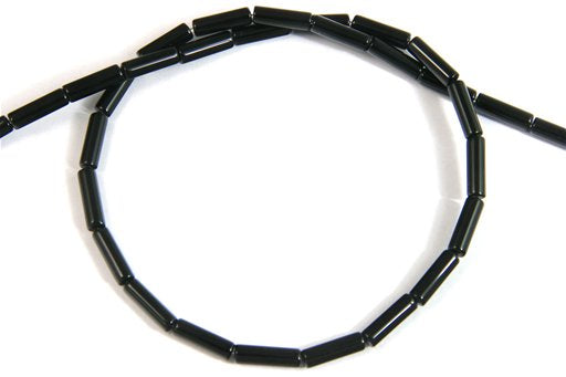Black Onyx, 4x13mm, Tube Shape Beads