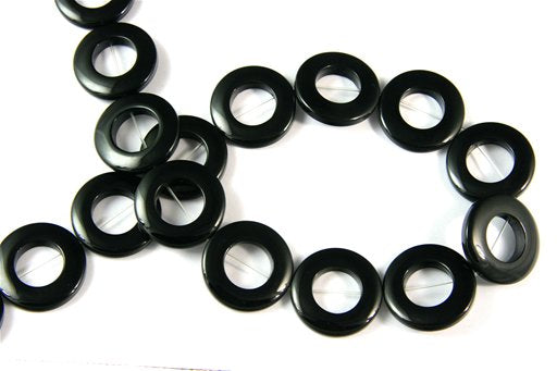 Black Onyx, 25mm (Ho.13mm), Donut Shape Beads
