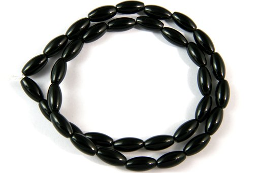 Black Onyx, 6x12mm, Rice Shape Beads