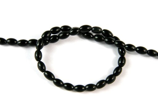 Black Onyx, 6x9mm, Rice Shape Beads