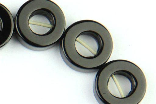 Black Onyx, 10mm, Tire (Donut) Shape Beads