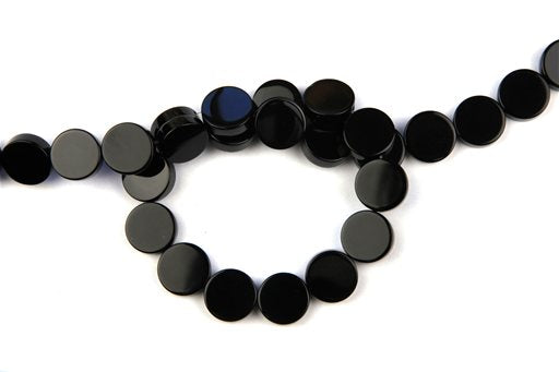 Black Onyx, 14mm, Coin Shape Beads