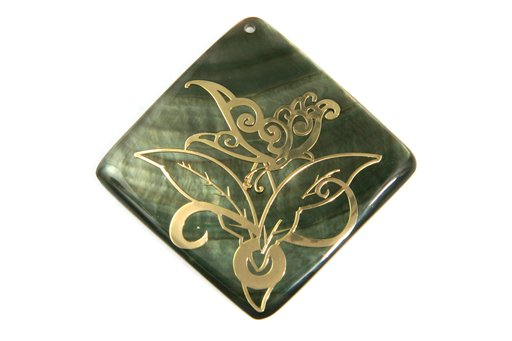 Black Shell (MOP), 40mm, Diamond Shape Pendant