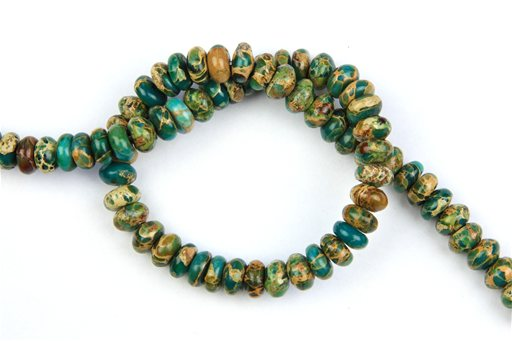 Blue Impression Jasper, 10mm,  Rondelle Shape Beads