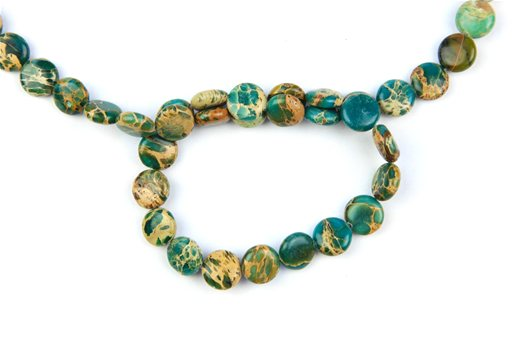 Blue Impression Jasper, 12mm, Coin Shape Beads
