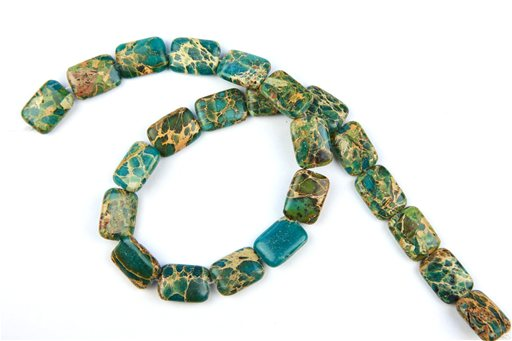 Blue Impression Jasper, 13x18mm, Puff Rectangle Shape Beads
