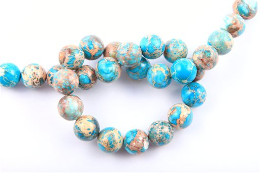 Blue Impression Jasper, 14mm, Round Shape Beads