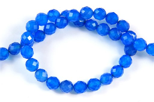 Blue Onyx, 8mm, Faceted Round Shape Beads