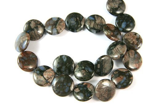 Blue Riolite, 20mm, Puff Coin Shape Beads