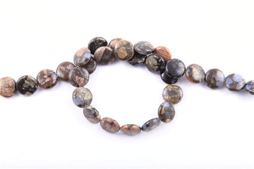 Blue Riolite, 14mm, Coin Shape Beads