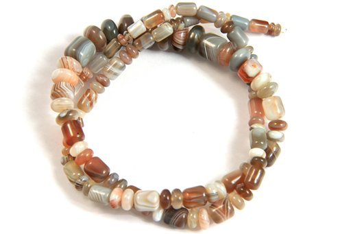 Botswana Agate, 3-10mm, Barrel Rondelle Assorted Shape Beads