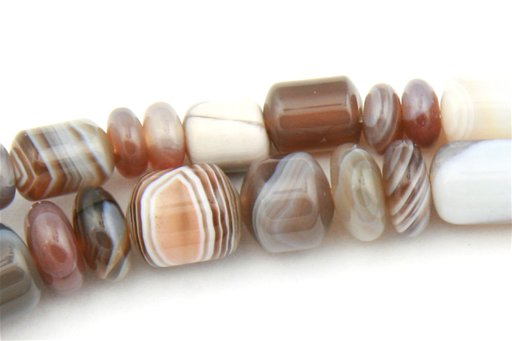 Botswana Agate, 5-7mm, Barrel Rondelle Assorted Shape Beads