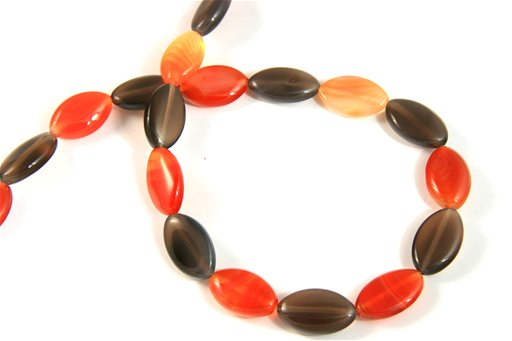 Botswana Agate (Orange & Gray), 12x30mm, Marquis Shape Beads