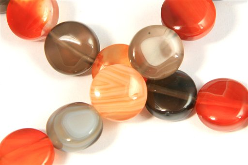 Botswana Agate (Orange & Gray), 10mm, Coin Shape Beads