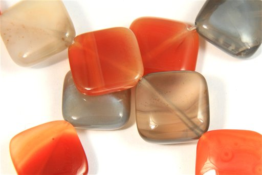 Botswana Agate (Orange & Gray), 14mm, Diamond Shape Beads
