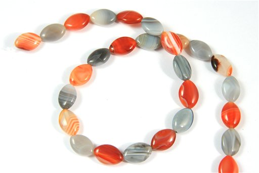 Botswana Agate (Orange & Gray), 10x15mm, Marquis Shape Beads