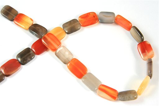 Botswana Agate (Orange & Gray), 13x18mm, Puff Rectangle Shape Beads