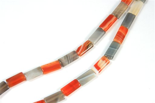 Botswana Agate (Orange & Gray), 10x16mm, Rectangle Shape Beads