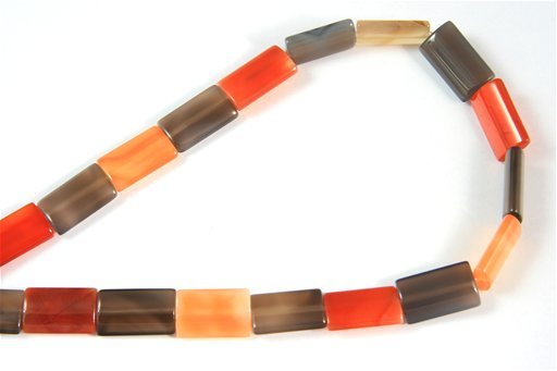 Botswana Agate (Orange & Gray), 12x20mm, Rectangle Shape Beads