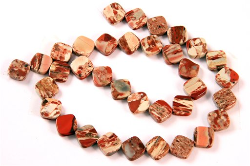 Rainbow Brecciated Jasper, 10mm, Flat Diamond Shape Beads