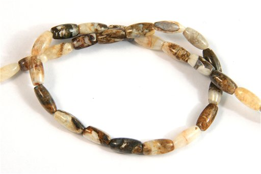 Brioche Jasper, 5x12mm, Rice Shape Beads