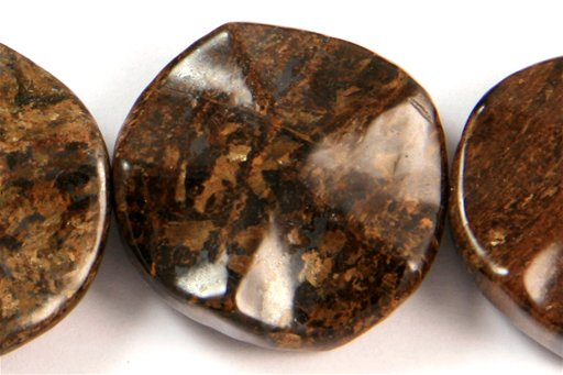Bronzite, 25mm, Wavy Coin Shape Beads