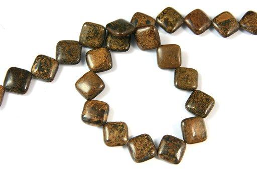 Bronzite, 14mm, Puff Diamond Shape Beads