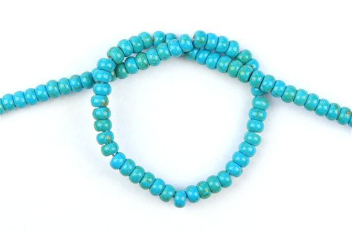 Chalk Turquoise (Blue-Green), 6mm, Rondelle Shape Beads