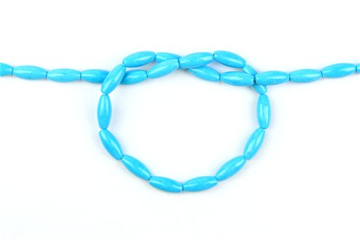 Chalk Turquoise (Blue), 5x12mm, Rice Shape Beads