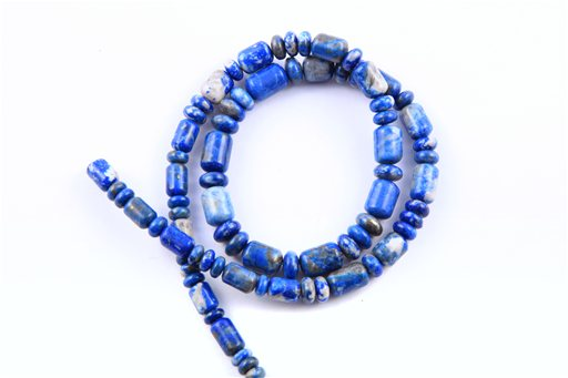 Chilean Lapiz, 6-8mm, Barrel Rondelle Assorted Shape Beads