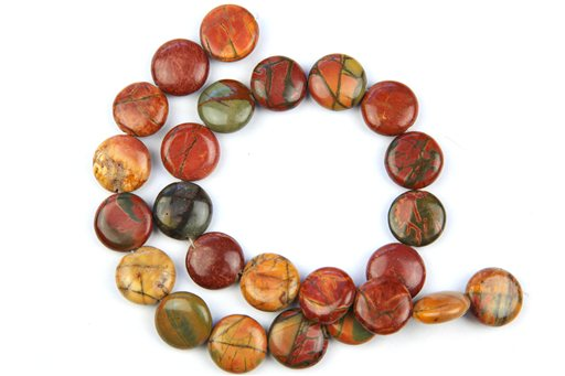 China Picasso Jasper, 16mm, Coin Shape Beads