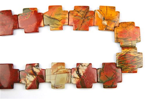 China Picasso Jasper, 30mm, Cross Shape Beads
