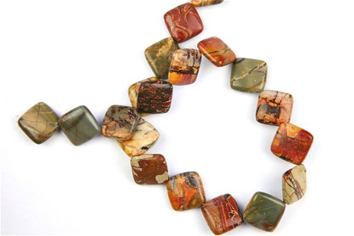 China Picasso Jasper, 18mm, Diamond Shape Beads