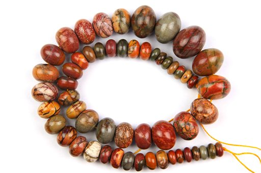 China Picasso Jasper, 8-20mm, Gradual Rondelle Shape Beads