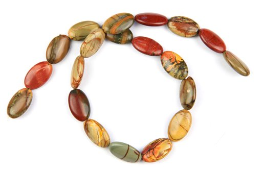 China Picasso Jasper, 12x20mm, Oval Shape Beads