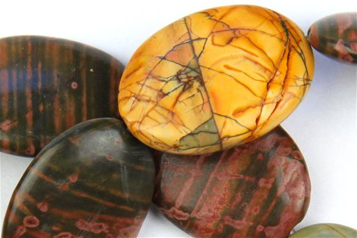 China Picasso Jasper, 22x30mm, Oval Shape Beads