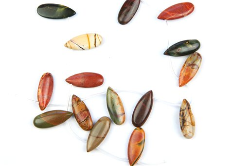 China Picasso Jasper, 12x25mm, Pear Shape Beads