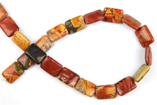 China Picasso Jasper, 13x18mm, Puff Rectangle Shape Beads