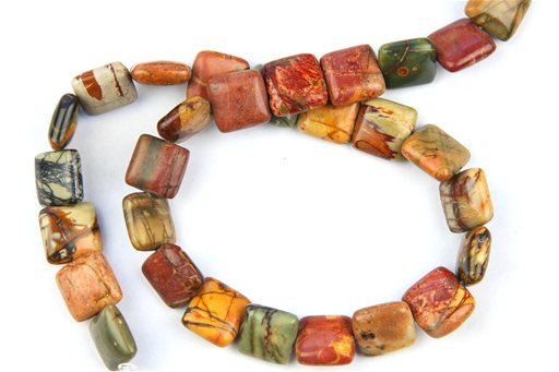 China Picasso Jasper, 14mm, Puff Square Shape Beads