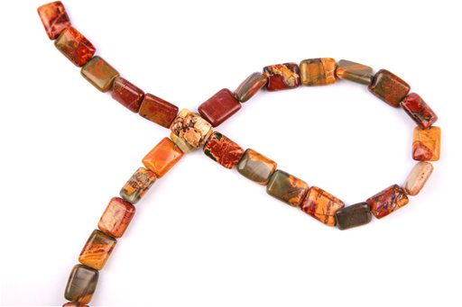 China Picasso Jasper, 10x14mm, Rectangle Shape Beads