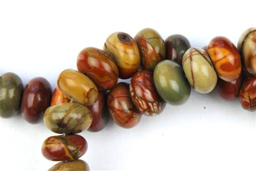 China Picasso Jasper, 10mm, Rondelle Shape Beads