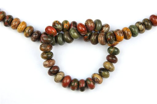 China Picasso Jasper, 12mm, Rondelle Shape Beads
