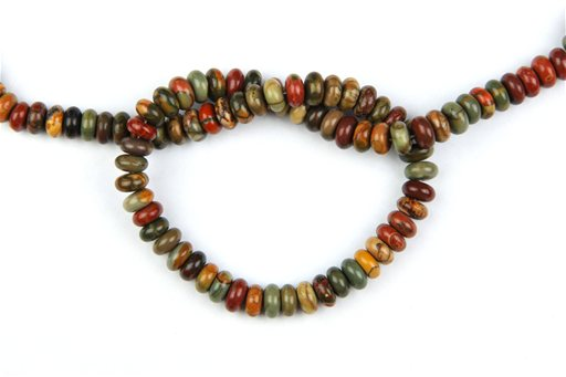 China Picasso Jasper, 8mm, Rondelle Shape Beads